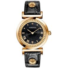 VERSACE VANITY ROSE GOLD ION-PLATED WATCH WITH BLACK LEATHER P5Q80D009 S009
